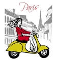 woman driving scooter vector image