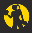 Fitness logo with muscled woman silhouettes Woman vector image