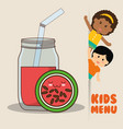 kids menu children watermelon juice diet vector image