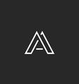 Letter A logo monogram design thin line hipster vector image