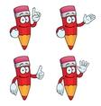 Smiling cartoon pencils set vector image