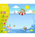 Summer holiday website design with funny vector image