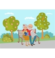 Elderly couple sitting on the park bench and read vector image