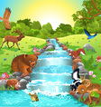 animals at the river vector image