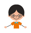 cute boy with glasses character icon vector image