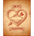 Valentines Day card with heart and cupids arrow vector image