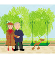 Senior couple walking in sunny day with a dog vector image