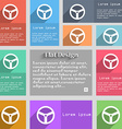 Steering wheel icon sign Set of multicolored vector image