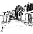urban sketch village street vector image
