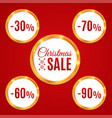 abstract glow golden circle frame sale set vector image