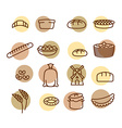 Bakery set of icons Characters of food and bread vector image