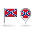 Confederate pin icon and map pointer flag vector image