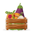 wooden box with vegetables vegetarian image vector image