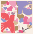 kissing birds valentine poster vector image vector image