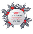 Christmas card with holly berry vector image