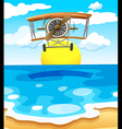 A plane flying above the sea vector image