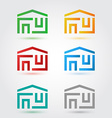 Abstract home icons set in different colors vector image