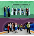 Subway passengers 2 flat banners composition vector image