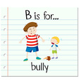 Flashcard letter B is for bully vector image