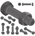 bolt and nut set all view isometric vector image