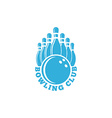 Bowling club logo blue sport emblem with ball and vector image
