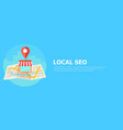 local seo banner map and shop in realistic view vector image