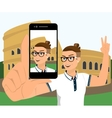 Selfie of hipster wearing in Rome vector image