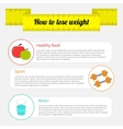 Weight loss infographic Healthy food sport fitness vector image
