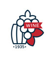 wine label 1935 red and blue logo design vector image