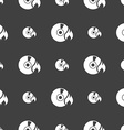CD icon sign Seamless pattern on a gray background vector image