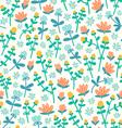 Field flowers doodle pattern vector image vector image