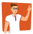 Handsome guy wearing glasses close-up vector image
