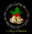 christmas bells with holly berries vector image vector image