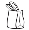 black and white shopping bag vector image