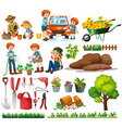 Family members doing chores and gardening vector image vector image