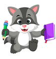 cute raccoon cartoon holding book vector image