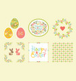 easter set of design elements in pastel colors vector image