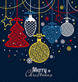 New Years greeting card merry Christmas vector image