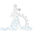 Ornate Bride Silhouette hand drawing with bouquet vector image