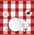 table for lunch with coffee and tea set two vector image
