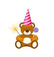 teddy bear toy in cone hat vector image