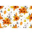 pattern seamless autumn flowers gerbera sunflower vector image