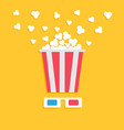 3d paper red blue glasses and big popping popcorn vector image