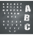 Alphabet and Symbols on Chalkboard vector image