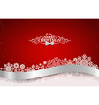 Christmas background with shiny ribbon on red vector image