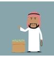 Arabian businessman with full bag of money vector image