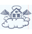 Angel house doodle version vector image