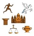 Greek mythology art and religion icons vector image