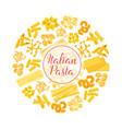 Italian pasta spaghetti macaroni round poster vector image