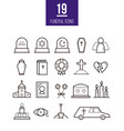 ritual line style icons funeral objects vector image